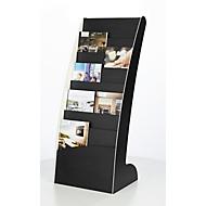 Prospektständer Paperflow COURBO, Kunststoff, DIN A3 plus, 8 Fächer, schwarz-weißes Design