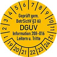 Prüfplakette, Geprüft gem. BetrSichV §3 (6) DGUV Information 208-016 Leitern u. Tritte (2019-2024)