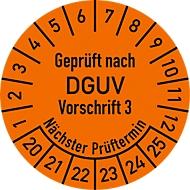 Prüfplakette, Geprüft nach DGUV Vorschrift 3 (2020-2025), 100 Stück