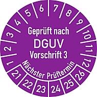 """Prüfplakette """"Geprüft nach DGUV Vorschrift 3 – Nächster Prüftermin"""", 2021-2026, 100 St. à Ø 30 mm, violett"""