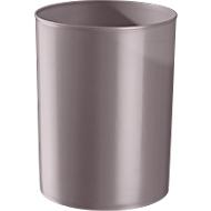 Prullenbak rondofix, 18 liter, Ø 270 x H 336 mm, RAL 7036 platinagrijs