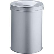 Prullenbak SAFE, zelfblussend,15 liter, Ø 260 x H 357 mm, zilver metallic