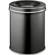 Prullenbak SAFE, zelfblussend,15 liter, Ø 260 x H 357 mm, zwart
