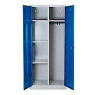 Putzmittelschrank, B 800 mm, 4 Böden, kompl. Mitteltrennwand, abschließbar, enzianblau RAL 5010/l.grau RAL 7035