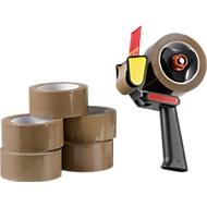 Qtape® 6 rubans d'emballage 222, 66 m x 50 mm + 1 dérouleur GRATUIT