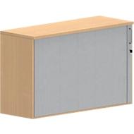 Querrollladen-Aufsatzschrank BEXXSTAR, 2 Ordnerhöhen, Sichtrückwand, B 1200 x T 445 x H 740 mm, Buche-Dekor