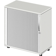 Querrollladenschrank LOGIN, 2 Ordnerhöhen, abschließbar, B 800 x T 420 x H 744 mm, lichtgrau