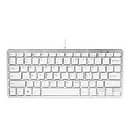 R-Go Compact Tastatur, QWERTY (US), weiß, drahtgebundenen - Tastatur - QWERTY - weiß, Silber