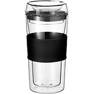 Rastal Thermobecher ToGo, aus doppelwandigem Glas, mit Deckel, Inhalt 0,36 L, schwarz