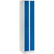 Raumspargarderobe, Abteilbreite 200 mm, abschließbar, 2 Abteile, enzianblau