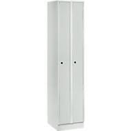 Raumspargarderobe, Abteilbreite 200 mm, abschließbar, 2 Abteile, lichtgrau