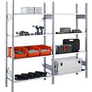 Rayonnage FBR 2200, 2.08 m, 1 module de base et 1 extension avec 8 étagères incl., H 2013 x l. 2080 x P 300 mm