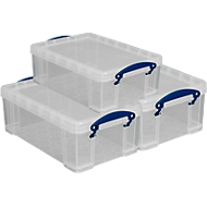 Really Useful Boxen, inhoud 9 liter, als opberg- en transportbox, set van 3
