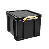 Really Useful Boxes Aufbewahrungsbox, 35L, schwarz, Griffe gelb
