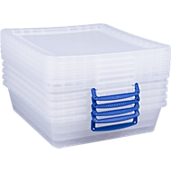 Really Useful Boxes Aufbewahrungsboxen, transparent, mit Deckel,  10,5L, 5 Stück