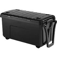 Really Useful Boxes Aufbewahrungsrollwagen, Inhalt 160 Liter, mit Deckel und Griffen, 4 Rollen, schwarz