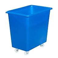 Rechteckbehälter, Kunststoff, fahrbar, 135 l, blau