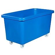 Rechteckbehälter, Kunststoff, fahrbar, 450 l, blau