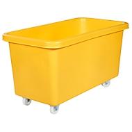 Rechteckbehälter, Kunststoff, fahrbar, 450 l, gelb