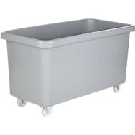 Rechteckbehälter, Kunststoff, fahrbar, 450 l, grau