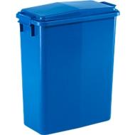 Rechthoekige afvalbak met deksel, 60 liter, B 280 x D 560 x H 590 mm, blauw