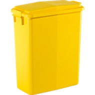 Rechthoekige afvalbak met deksel, 60 liter, B 280 x D 560 x H 590 mm, geel