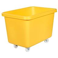 Rechthoekige container, kunststof, verrijdbaar, 227 l, geel