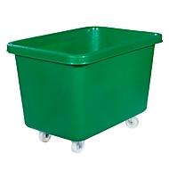 Rechthoekige container, kunststof, verrijdbaar, 227 l, groen