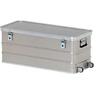 Rechthoekige container met wielen, aluminiumkleurig, 105 l