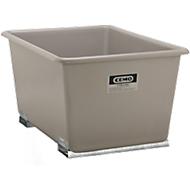 Rechthoekige container Standaard, GFK, met vorkheftrucksloffen, grijs, 1100 l