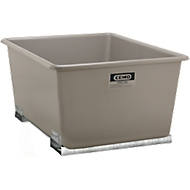Rechthoekige container Standaard, GFK, met vorkheftrucksloffen, grijs, 1500 l