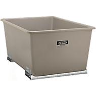 Rechthoekige container Standaard, GFK, met vorkheftrucksloffen, grijs, 2200 l