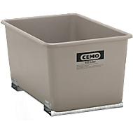 Rechthoekige container Standaard, GFK, met vorkheftrucksloffen, grijs, 400 l