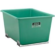Rechthoekige container Standaard, GFK, met vorkheftrucksloffen, groen, 1100 l