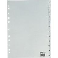Recycling-indexbladen A4, cijfers 1-12, losbladig