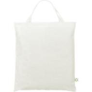 Recycling Tasche, weiß, aus recycelten PET Flaschen, 2 kurze Henkel, Werbedruck 1-farbig 220 x 100 mm