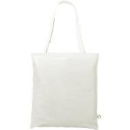 Recycling Tasche, weiß, aus recycelten PET Flaschen, 2 lange Henkel, Werbedruck 1-fabrig 220 x 100 mm