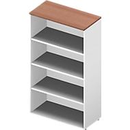 Regal ARLON OFFICE, 4 Ordnerhöhen, 3 variable Fachböden, B 900 x T 450 x H 1600 mm, Nuss Canaletto-Dekor/weiß