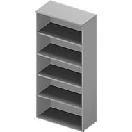 Regal ARLON OFFICE, 5 Ordnerhöhen, 4 variable Fachböden, B 900 x T 450 x H 2000 mm, lichtgrau/alu