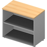 Regal ARLON OFFICE, Tischhöhe, 1 variabler Fachboden, B 800 x T 450 x H 730 mm, Buche-Dekor/alu