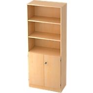 Regalschrank, B 800 x T 420 x H 2004 mm, 5 OH, 5 Böden, 2 Türen, abschließbar, Ahorn-Dekor