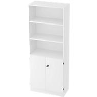 Regalschrank, B 800 x T 420 x H 2004 mm, 5 OH, 5 Böden, 2 Türen, abschließbar, weiß/weiß