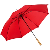 Regenschirm LIMBO, 170T Kunststoff, Griff in Holzoptik, Öffnungsautomatik, rot