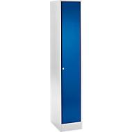 Reihen-Garderobe, m. Sicherheitszylinderschloss, lichtgrau/enzianblau