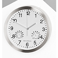 Reloj de pared de cuarzo c. termómetro e higrómetro, blanco
