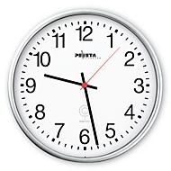 Reloj de pared radiocontrolado, ø 250mm, plata mate