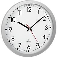 Reloj de pared radiocontrolado, de plástico, alimentado con pilas