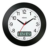 Reloj de pared radiocontrolado «Die Edle», ø 300mm, con fecha, negro