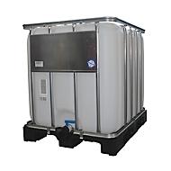 Réservoir IBC, réservoir pour produits liquides sur palette plastique, 600 litres, l. 800 x H 1013 mm