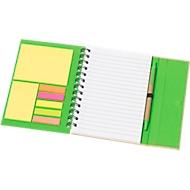 Ringbuch Magny, inkl. Schreibblock 70 Blatt liniert,  Haftnotizen & Kugelschreiber, grün